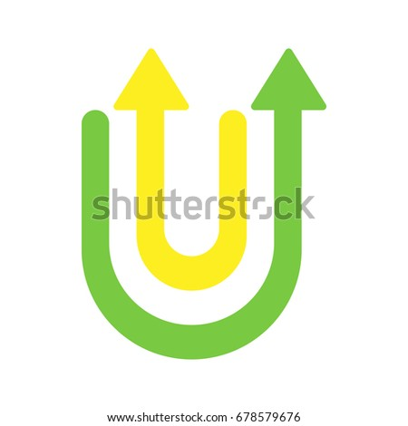 alphabet letter u, u-turn sign vector design
