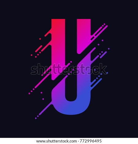 Alphabet letter U with liquid splash and drops, abstract colorful ink abc, stylized dynamic paint trail font. Vector