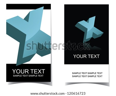 Alphabet letter X icon symbol business card set front and back. EPS 8 vector. No open shapes or paths.