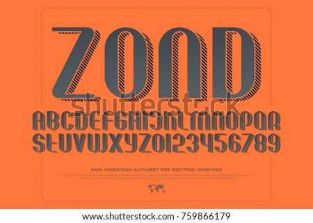 alphabet letters and numbers with striped shadow. vector, isometric font type. 3d effect typeface design. stylish, sans serif typesetting