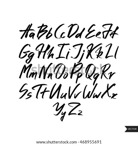 Alphabet letters.Black handwritten font drawn with liquid ink and brush.Calligraphic script