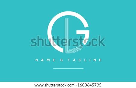 Alphabet letters Circle monogram icon logo GL,LG,L and G Stok fotoğraf ©