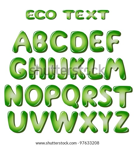 Alphabet letters in green colors