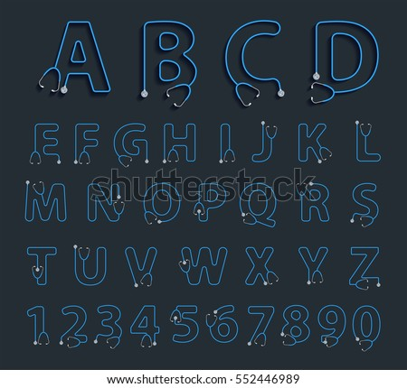 Alphabet letters in shape of stethoscope creative design idea concept, Vector illustration modern layout template