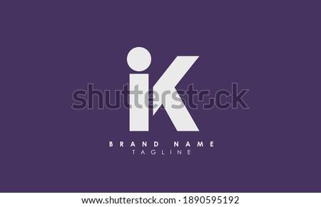 Alphabet letters Initials Monogram logo IK, KI, I and K, Alphabet Letters IK minimalist logo design in a simple yet elegant font, Unique modern creative minimal circular shaped fashion brands Stock fotó ©