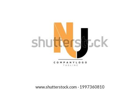 Alphabet letters Initials Monogram logo NU, NU INITIAL, NU letter Foto stock ©