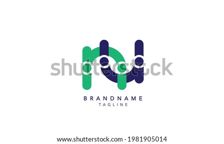 Alphabet letters Initials Monogram logo NU,NU INITIAL, NU letter , N and U Foto stock ©