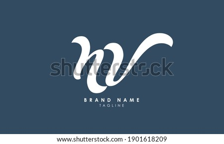 Alphabet letters Initials Monogram logo NV, VN, N and V, Alphabet Letters NV minimalist logo design in a simple yet elegant font, Unique modern creative minimal circular shaped fashion brands Imagine de stoc ©
