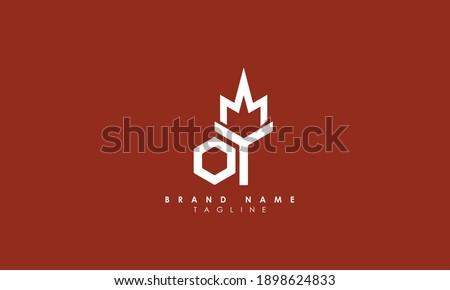 Alphabet letters Initials Monogram logo oy, YO, O and Y Stok fotoğraf ©