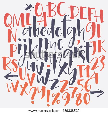 Alphabet letters: lowercase, uppercase, numbers. Vector alphabet. Hand drawn letters. Letters of the alphabet written with a soft watercolor paint brush