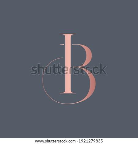 alphabet letters monogram icon logo BI or IB Foto stock ©