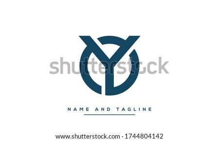 Alphabet letters monogram icon logo OY or YO Stok fotoğraf ©