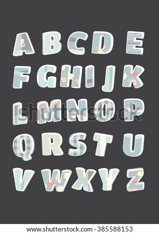alphabet letters set. letters isolated. shabby chic. 3d