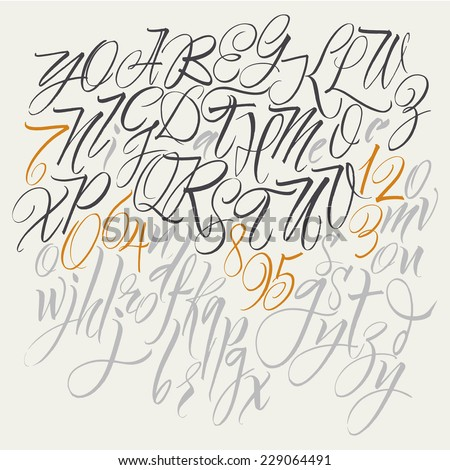 Alphabet letters uppercase lowercase numbers Elegant writing Vector alphabet Hand drawn letters Letters of the alphabet written with a brush