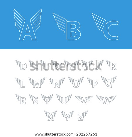 Alphabet letters with wings. Linear design logos. For any transportation services and sports areas Stok fotoğraf ©