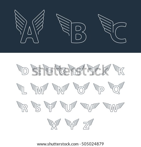 Alphabet letters with wings. Linear design vector set of letters for sport, transport and other fast services Stock fotó ©