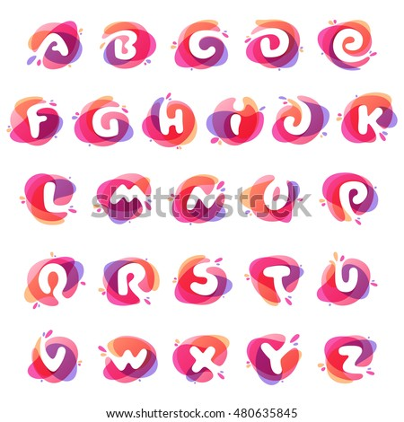Alphabet logos at colorful watercolor splash background. Vector elements for posters, t-shirts and cards.