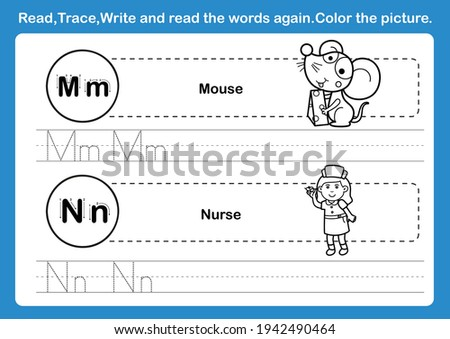 Alphabet M-N exercise with cartoon vocabulary for coloring book illustration, vector Foto stock ©