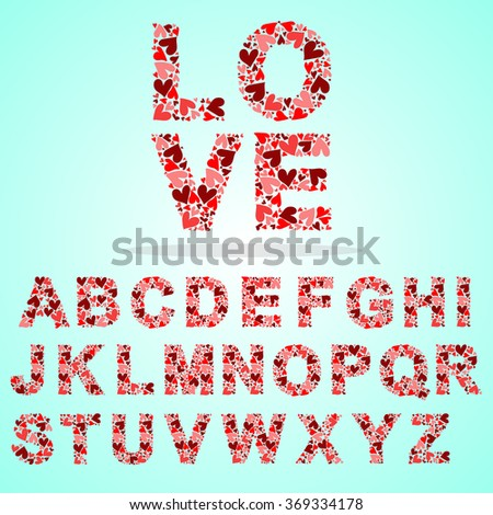 alphabet made by hearts