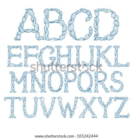 Alphabet made of curls. Vector creative vintage.