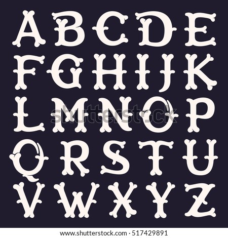 Alphabet made out of bones. Vector font for horror labels, posters etc.