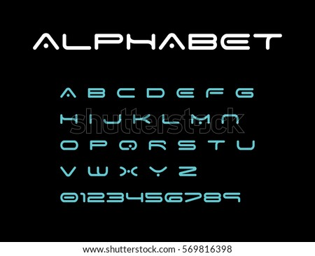 Alphabet, modern font, space typeface, minimalist style. Latin alphabet letters. Vector design element.