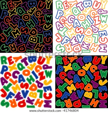four letter colors alphabet neon design in six colors four versions solid 39827