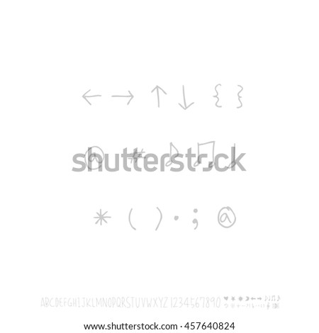 Alphabet & number / handwriting - vector