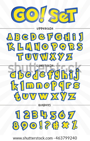 alphabet  numbers cartoon style