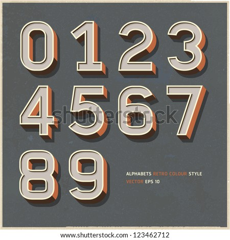 Alphabet numbers retro colour style. Vector illustration.