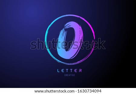 alphabet O letter logo grunge brush blue pink logo icon design template. Suitable for a company logotype