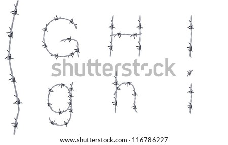 Alphabet of barbed wire, font, letters G H I, very detailed