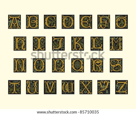 alphabet of early 16th century in editable vector file