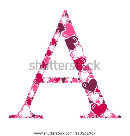 Alphabet of hearts vector illustration