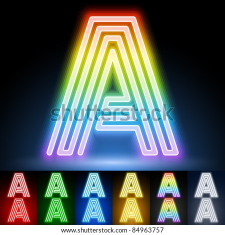 Alphabet of neon tubes. letter a - stock vector