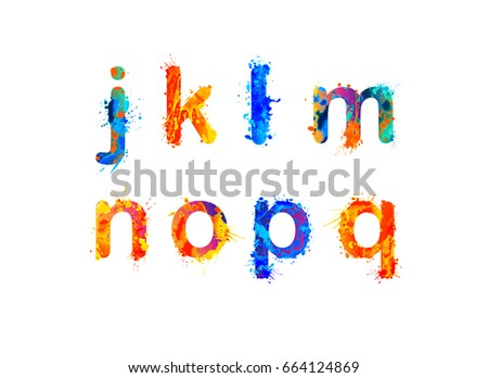 alphabet of watercolor splash