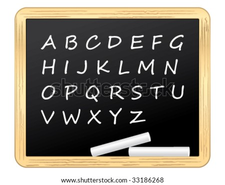 Alphabet on a blackboard. Vector illustration.