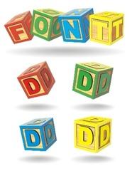 alphabet on a cubes. d.