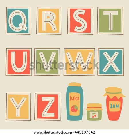 Alphabet, part 3. Letters Q, R, S, T, U, V, W, X, Y, Z. Vector Illustration. Stock fotó ©