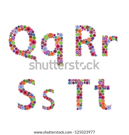 Alphabet part with many colourful flowery letters Q, R, S, T isolated on the white background, vector artwork Stock fotó ©