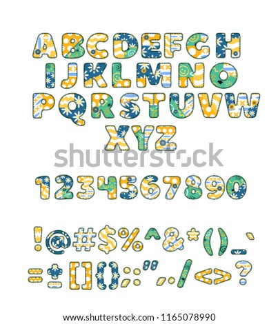 Alphabet patchwork vector handmade patch work ABC alphabetical font with fabric sewed letters and numbers illustration of sewing alphabetic or numeric set isolated on white background
