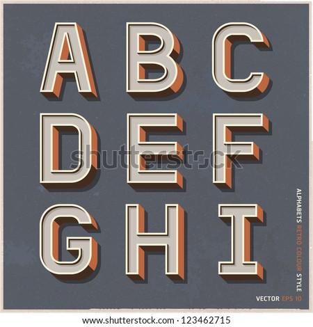 alphabet retro colour style