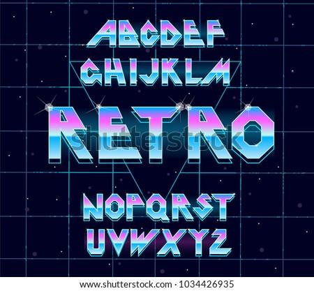 Alphabet 80's retro font.Vector typography for flyers, posters. Iron Effect shiny letters. 80s metallic style,vintage metal.Retro Futurism Sci-Fi Font Alphabet Vector.3d logo set elements design