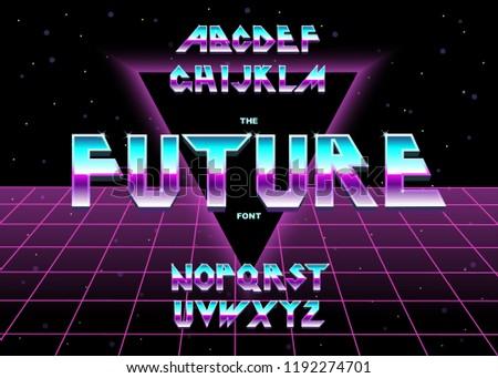 Shiny Alphabet 80s Retro Futurism Graphic Style Vector - Download