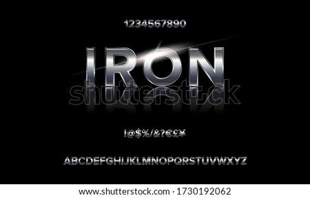 Alphabet 80 s retro font. Vector typography for flyers, posters. Iron Effect shiny letters. 80s metallic style,vintage metal.Retro Futurism Sci-Fi Font Alphabet Vector.3d logo set elements design