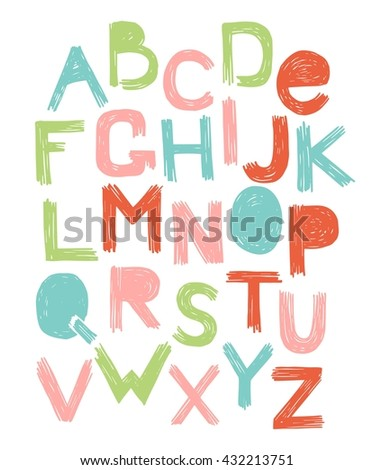 alphabet scratch color vector
