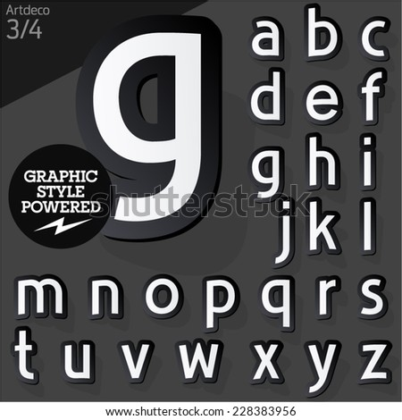 Alphabet set of symbols in the form of stickers. Artdeco normal black. File contains graphic styles available in Illustrator #228383956