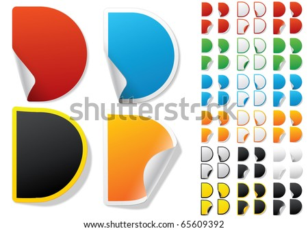Alphabet set of symbols in the form of stickers on matte paper. Character d