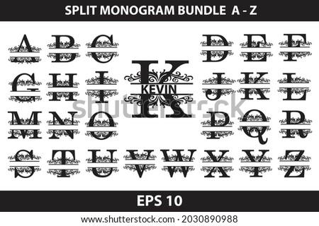 Alphabet Split Monogram, Split Letter Monogram, Alphabet Frame Font. Laser cut template. Initial letters of the monogram.