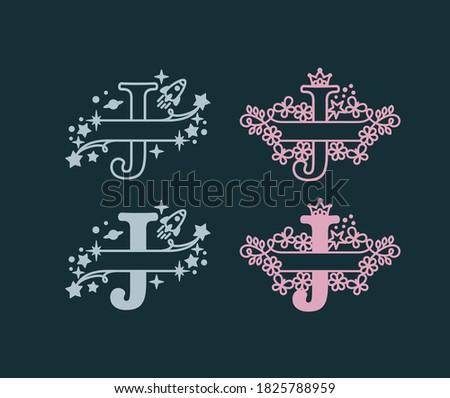 Alphabet Split Monograms. Baby name monogram. Split Letter Monogram. Alphabet Frame Font. Laser cut template. Initial monogram letters.